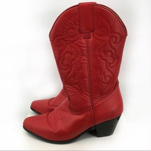 Buffalo Gap Rodeo Queen Red Leather Cowboy Boots